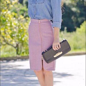 J. Crew NWT purple wool zipper pencil skirt